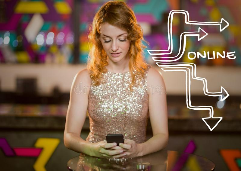 Online-text mot kvinna på telefonen i klubba stock illustrationer