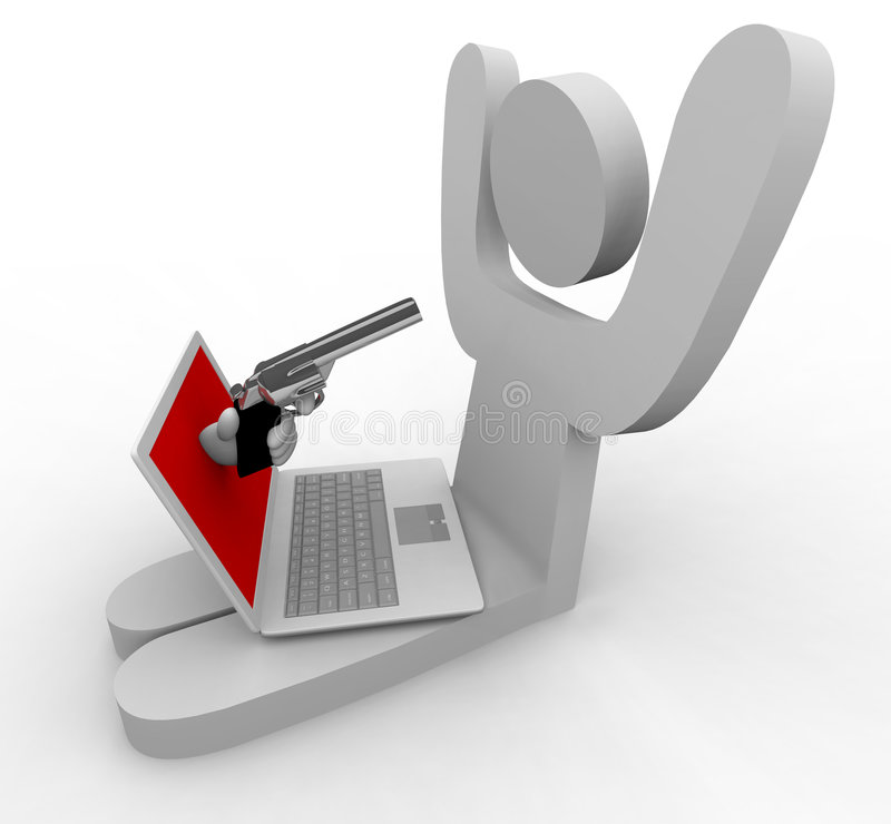 Online Theft - Laptop. A hand comes out of laptop to point gun at its user, representing online fraud / theft stock illustration