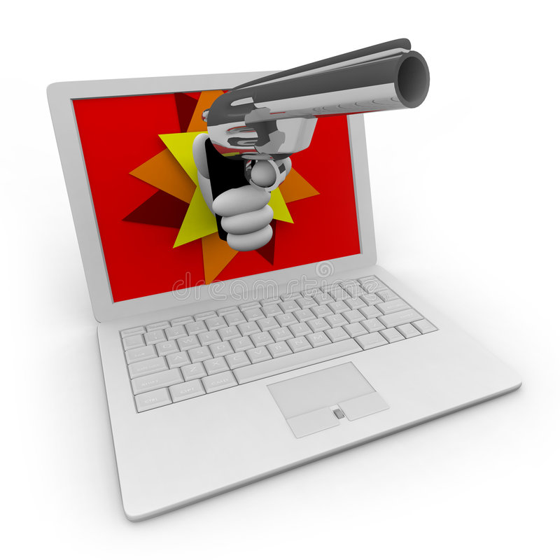 Online Theft / Robbery. A hand with a gun erupts from a computer screen, symbolizing online fraud/theft/security vector illustration