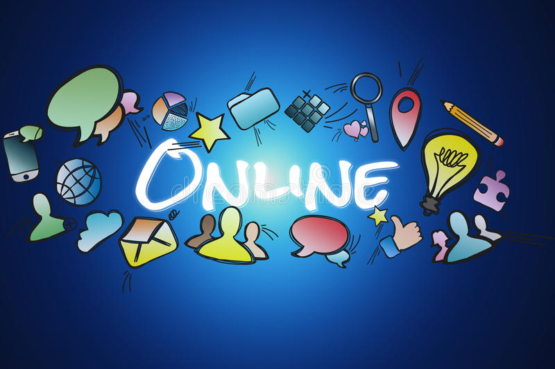Online title isolated on a background and surounded by multimedia icons - Internet concept. View of a Online title isolated on a background and surounded by stock illustration