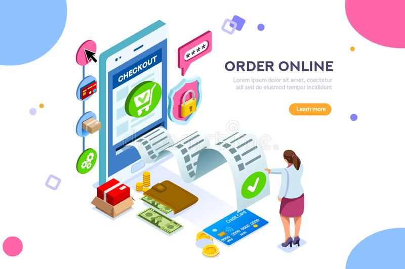 Online-tjänst för finansiella transaktioner stock illustrationer