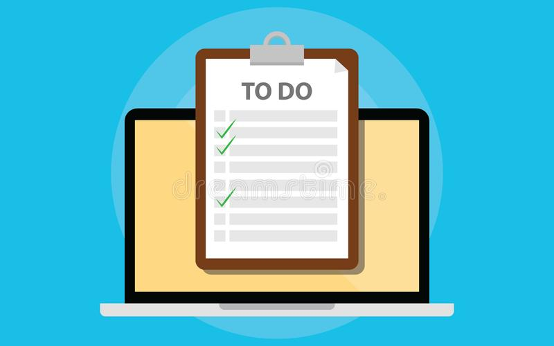 Online todo list with clipboard and laptop and checklist on screen royalty free illustration