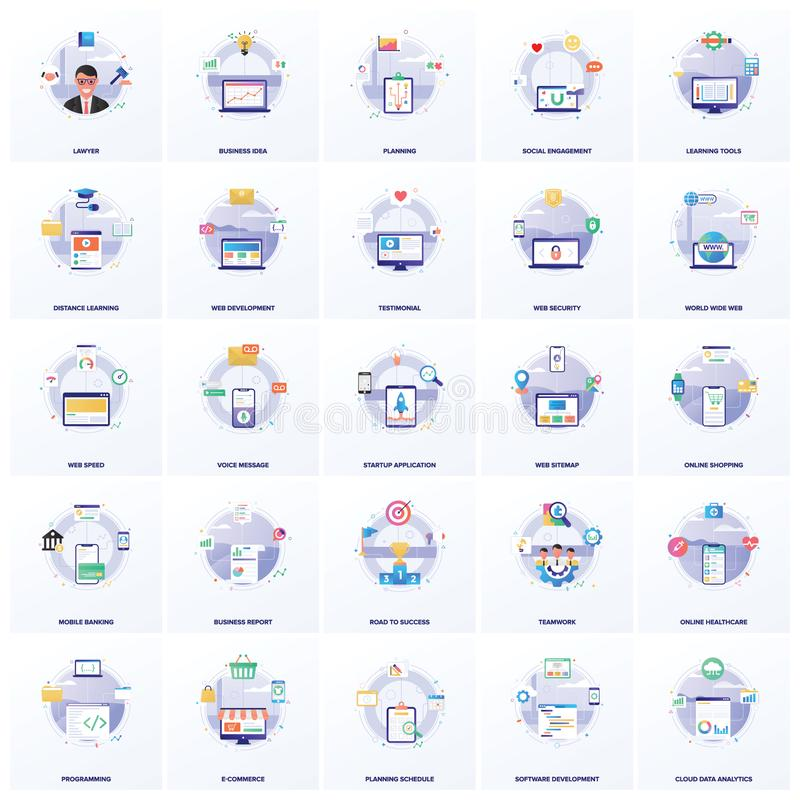 Online Trade Flat Illustrations Pack. Online trade illustrations are here for your ease and best business assignments. Keep it in mind that these are totally royalty free illustration
