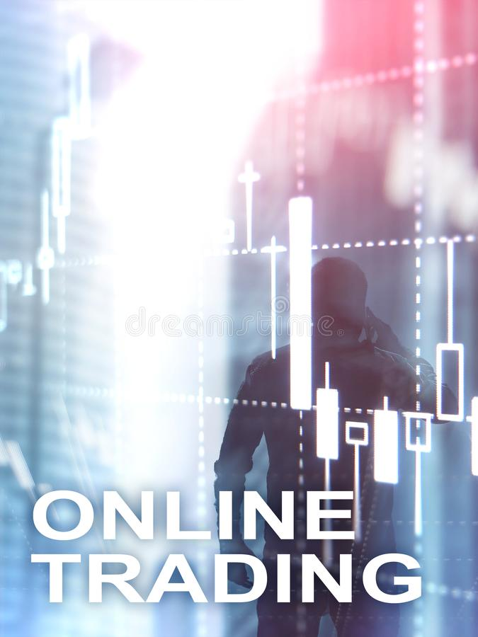 Online trading, FOREX, Investment concept on blurred business center background. Abstract Cover Design Vertical Format.  royalty free stock image