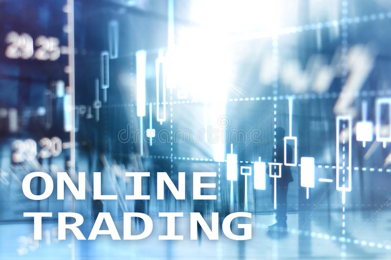 Online trading, FOREX, Investment concept on blurred business center background.  stock image