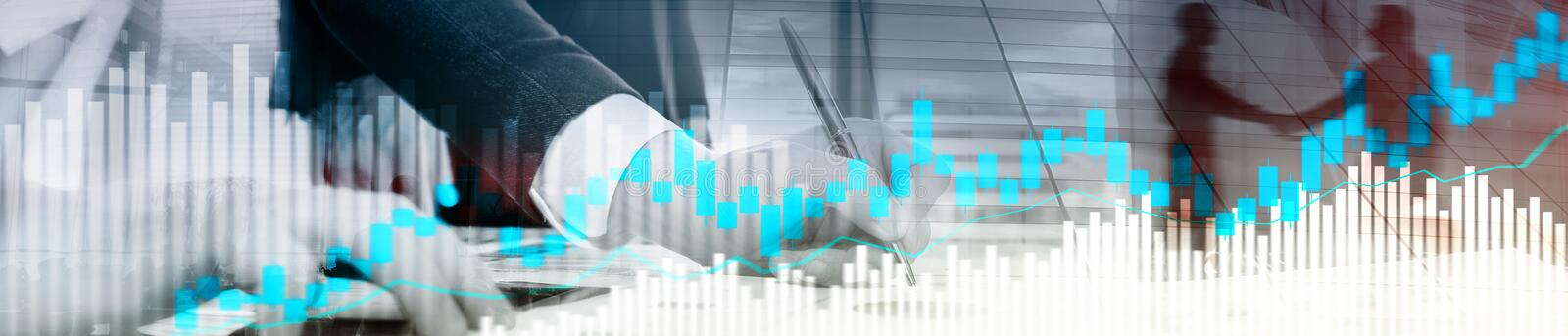 Online trading, FOREX, Investment concept on blurred business center background. Website header banner. royalty free stock image