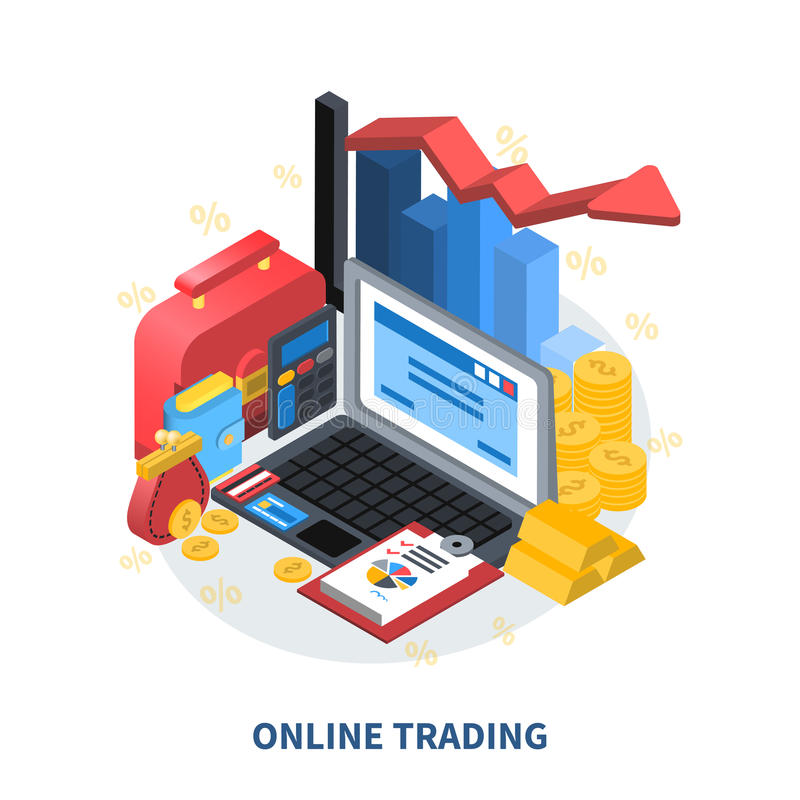 Online Trading Isometric Composition. Online trading financial isometric icons composition with diagram arrow columns credit card gold coins money wallet vector illustration
