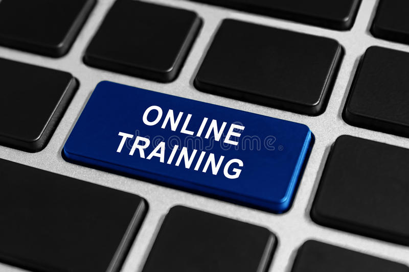 Online training button on keyboard stock photos