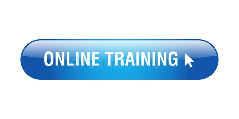 Online training button. Online training web button - computer generated illustration on isolated white background royalty free illustration