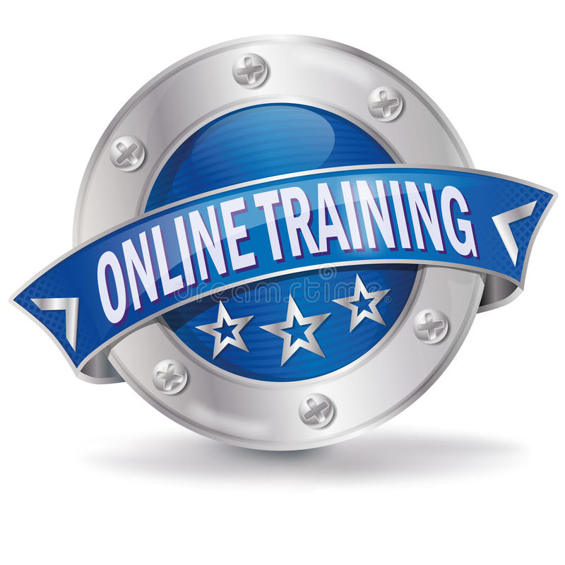 Online training. Button online training and successful education vector illustration