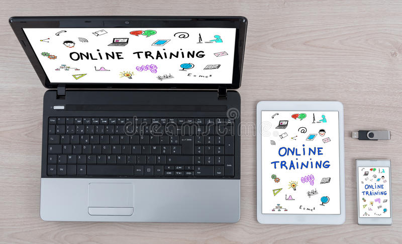 Online training concept on different devices stock photos