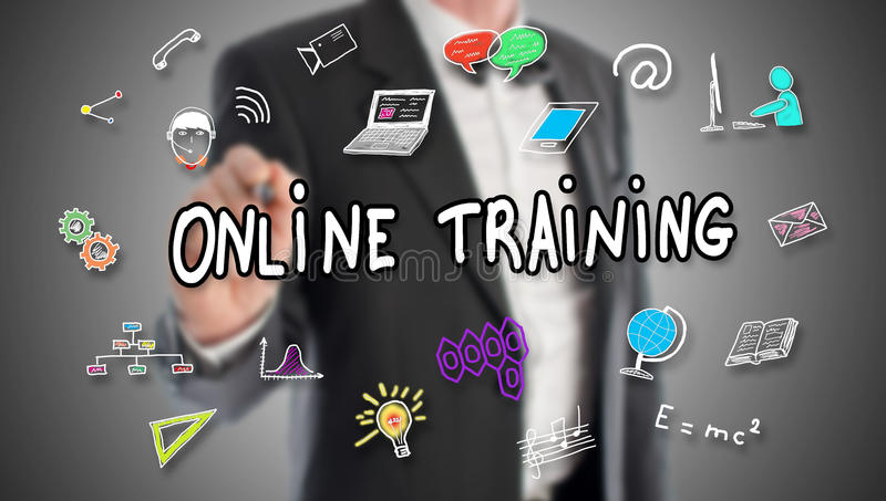 Online training concept drawn by a businessman royalty free stock image