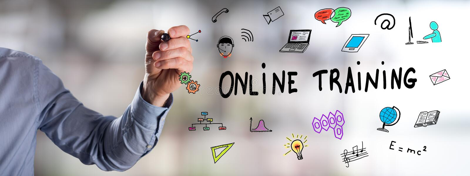 Online training concept drawn by a man stock photography