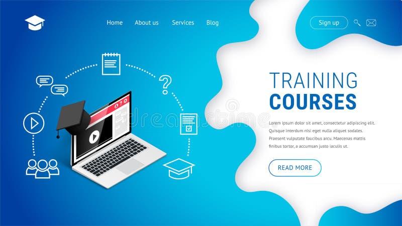 Landing Training courses laptop graduation cap royalty free illustration