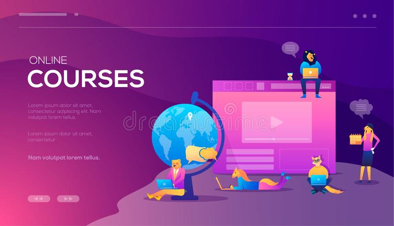 Online training courses, retraining, specialization, tutorials. Can be used for web promotional. Vector concept for royalty free illustration