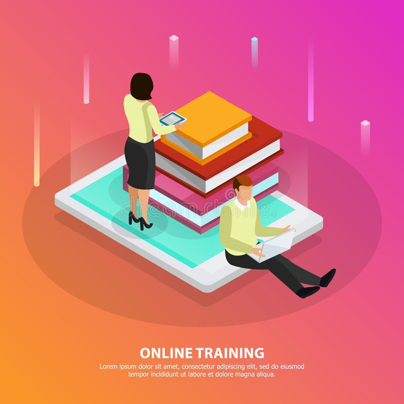Online Training Isometric Design Concept royalty free illustration