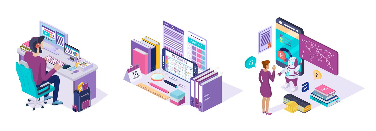 Online training. E-learning course school language, education via mobile app. Online training. Distance e-learning course school language, knowledge, school vector illustration