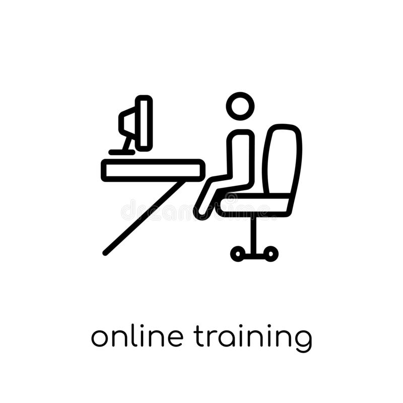 online training icon. Trendy modern flat linear vector online tr vector illustration