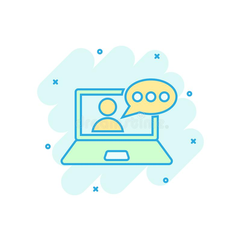 Online training process icon in comic style. Webinar seminar vector cartoon illustration pictogram. E-learning business concept stock illustration