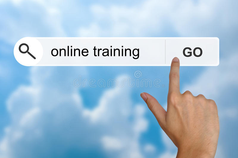 Online training on search toolbar stock images
