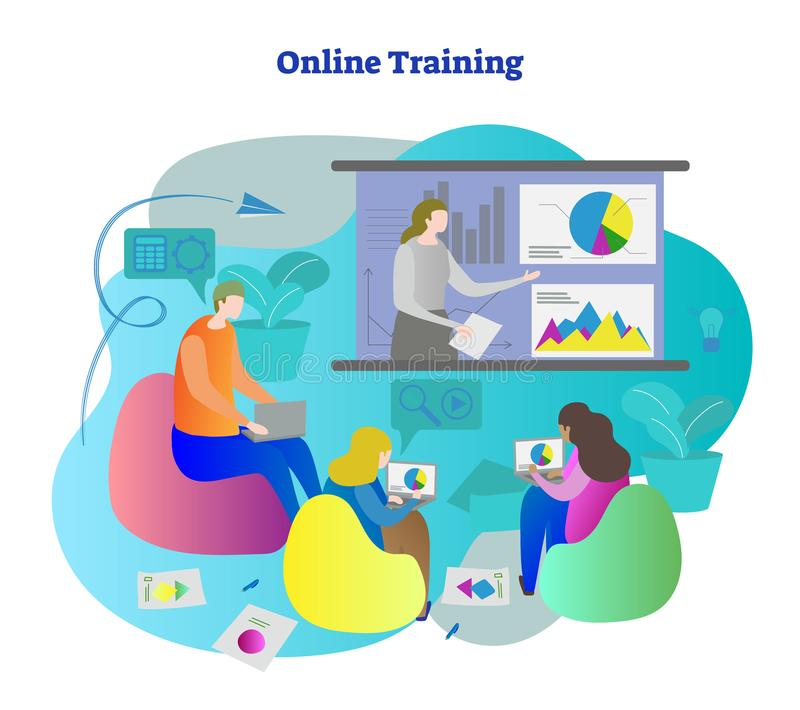 Online training vector illustration. Students learning education from teacher presentation. Streaming and lecture from distance stock illustration
