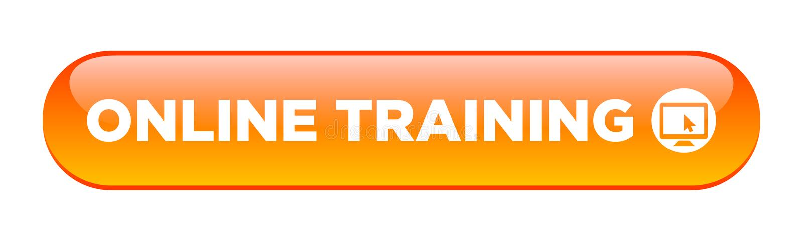 Online training button. Online training web button on computer generated web button icon on pure white background royalty free illustration