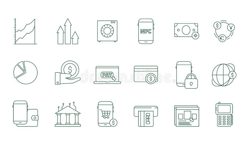 Online transaction icon. Internet banking safety money web transfer and payments finance vector line symbols set royalty free illustration
