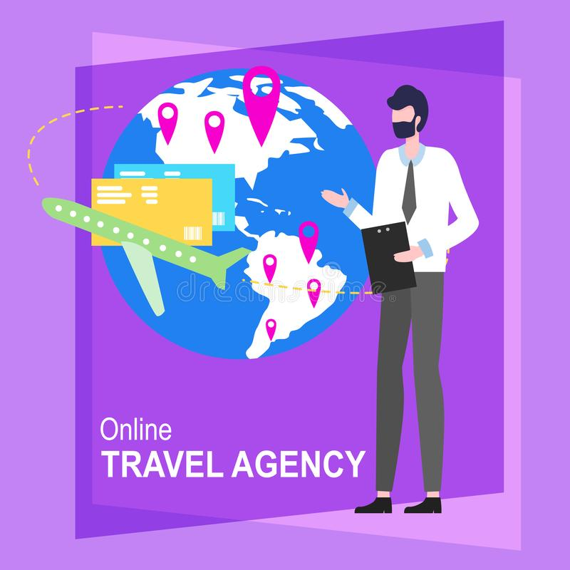 Online Travel Agency Cartoon Man Worker Vector. Illustration. Male Agent Hot Ticket Tour Computer Booking Hotel Service Internet Appartment Reservation Trip vector illustration