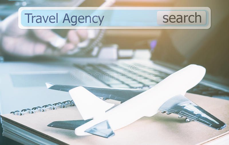 Online travel agency search box virtually. In office for business travel stock images