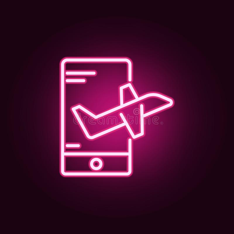 Online travel neon icon. Elements of travel set. Simple icon for websites, web design, mobile app, info graphics. On dark gradient background royalty free stock images