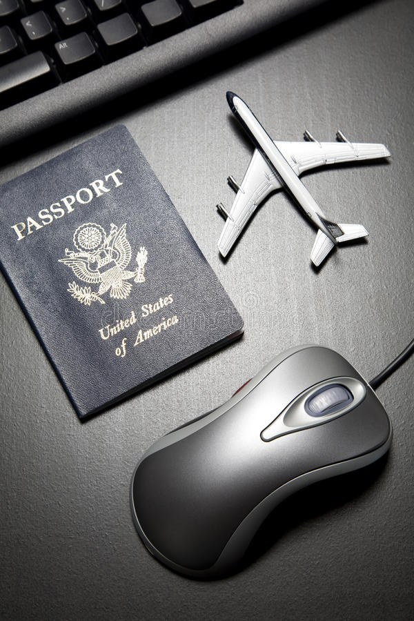 Online travel still life concept royalty free stock image