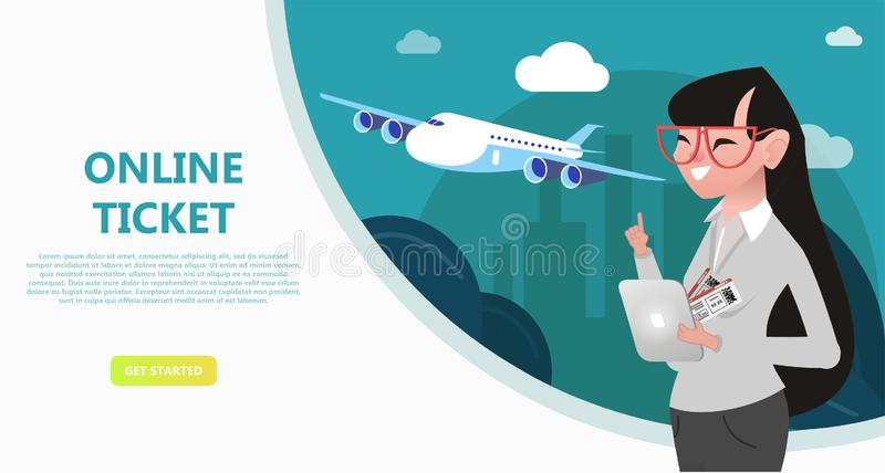 Online travel store, online ticket booking. royalty free illustration