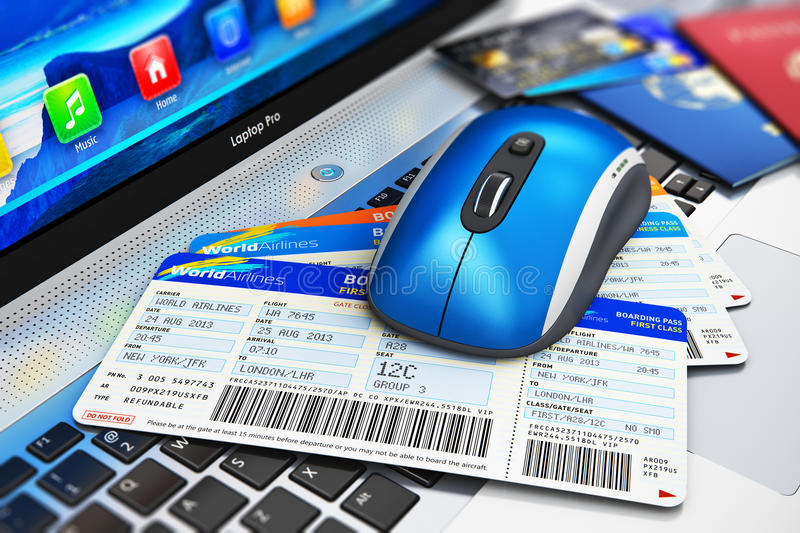Online travel tickets booking on laptop. Creative abstract business travel and web online air tickets booking technology internet concept: wireless computer PC vector illustration
