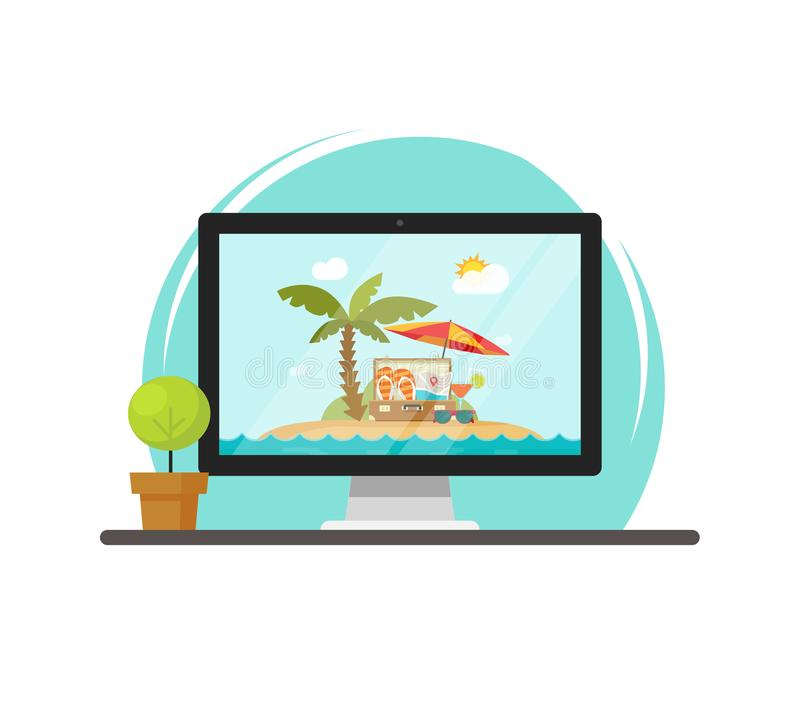 Online travel via computer vector illustration, concept of on-line trip and journey booking via pc, flat cartoon. Online travel via computer vector illustration vector illustration