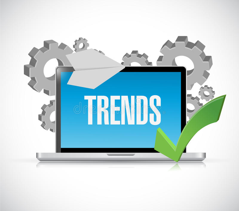 Online trends computer concept illustration. Design graphic vector illustration