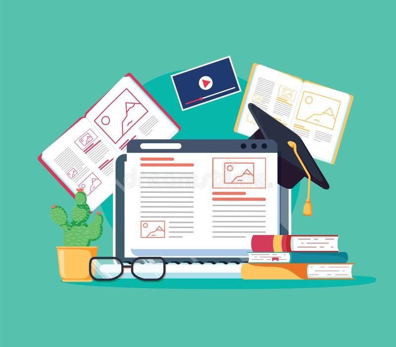 Online tutoringsconcept E-boeken, Internet-cursussenproces Vector illustratie Personeelsonderwijs, raadplegende universiteit royalty-vrije illustratie