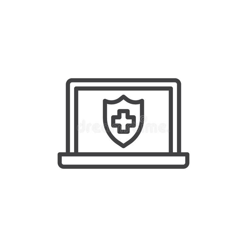 Online ubezpieczenie medyczne linii ikona ilustracji