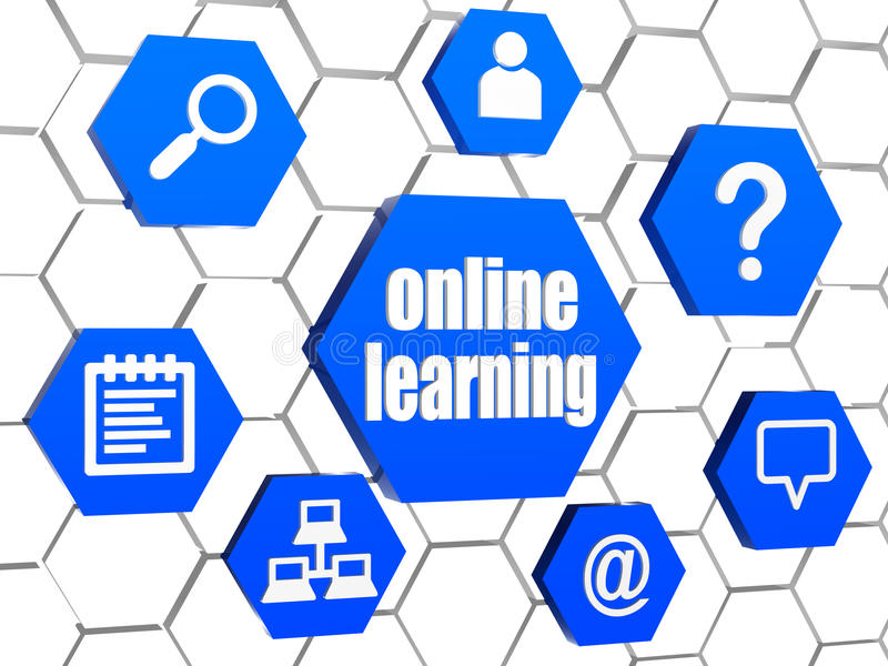 Online uczenie i internet podpisujemy wewnątrz błękitnych sześciokąty ilustracji
