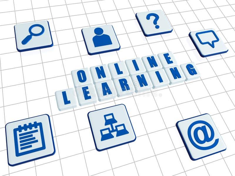 Online uczenie i internet podpisujemy wewnątrz białych bloki royalty ilustracja