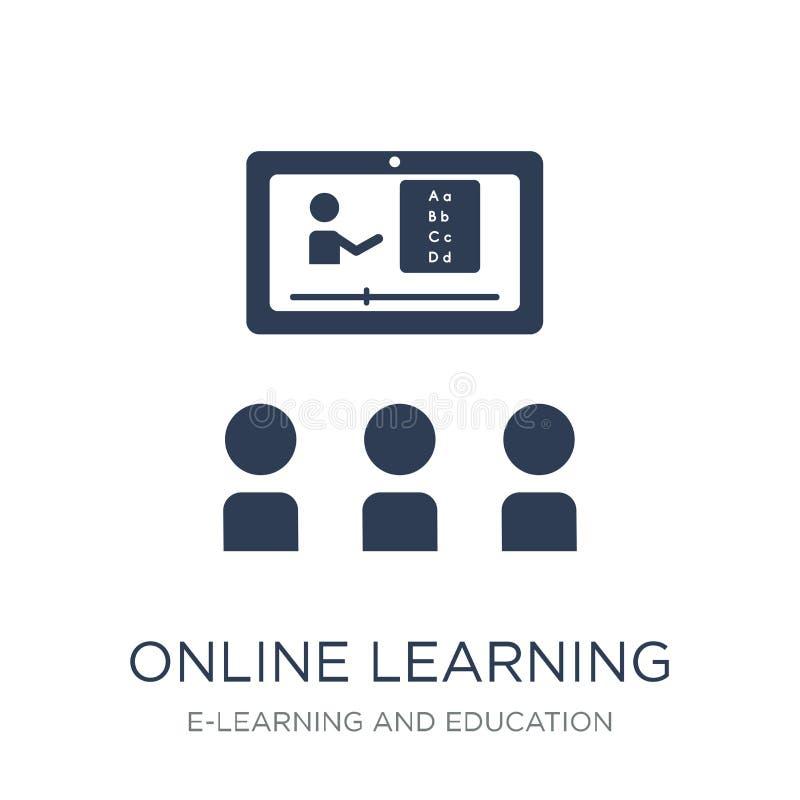 Online uczenie ikona Modna płaska wektorowa Online uczenie ikona dalej ilustracja wektor
