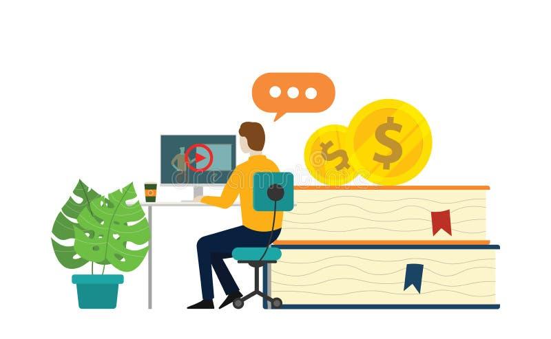 Online uczenie kurs dla edukacji z książkami i wideo uczenie na monitoru ekranie royalty ilustracja