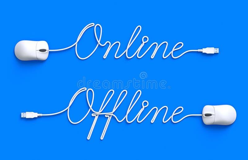 Online und off-line lizenzfreie abbildung