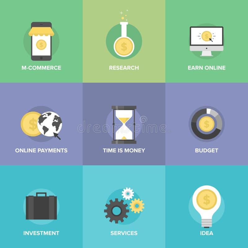 Online-uppsättning för kommerslägenhetsymboler royaltyfri illustrationer