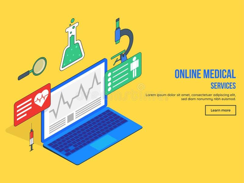 Online usługa zdrowotnej lądowania strony projekt z Isometric widokiem o royalty ilustracja