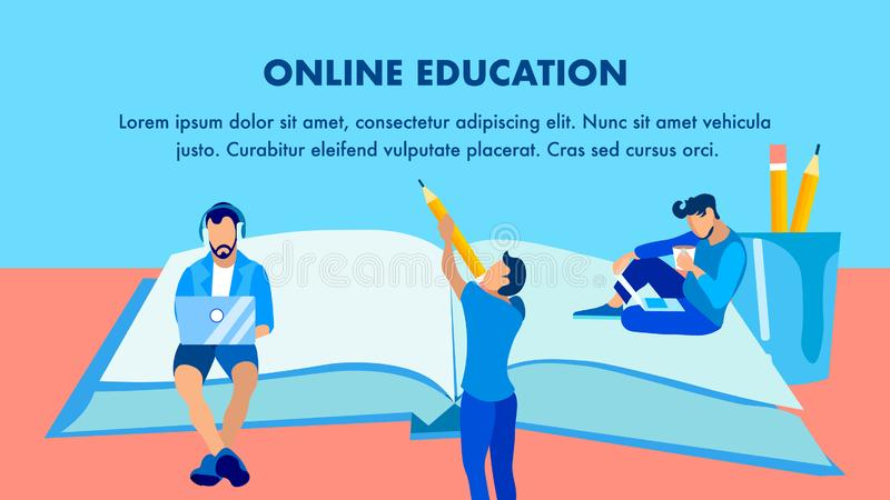 Online-utbildning, avlägsen studiebanermall royaltyfri illustrationer