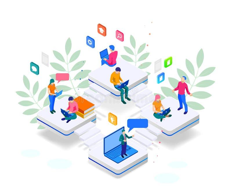 Online-utbildning för isometriskt rengöringsdukbaner eller utbildning och begrepp för internetutbildningskurser Landa sidamallen  royaltyfri illustrationer