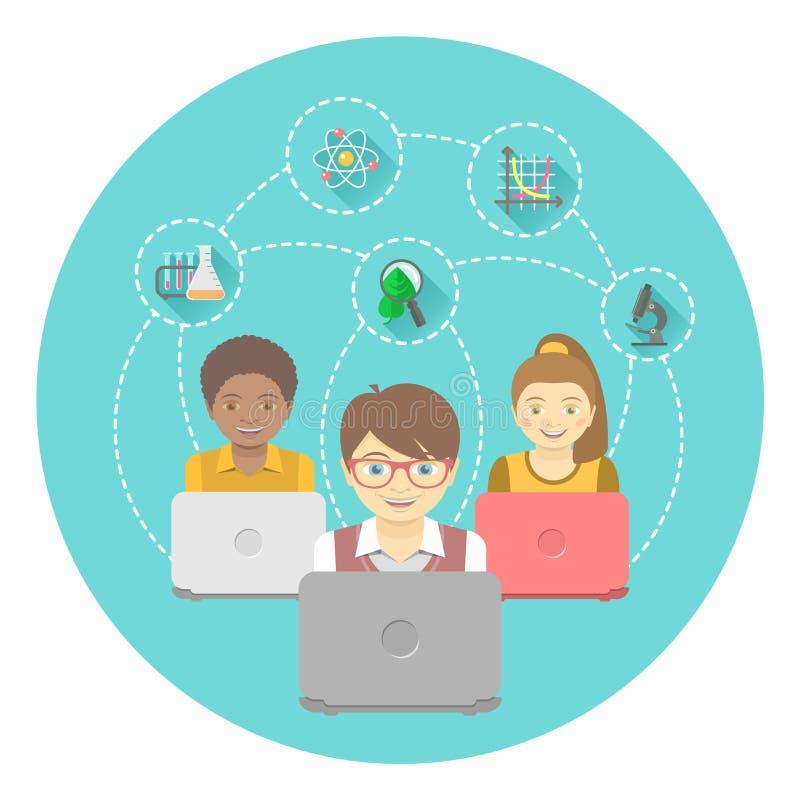 Online-utbildning för ungar vektor illustrationer