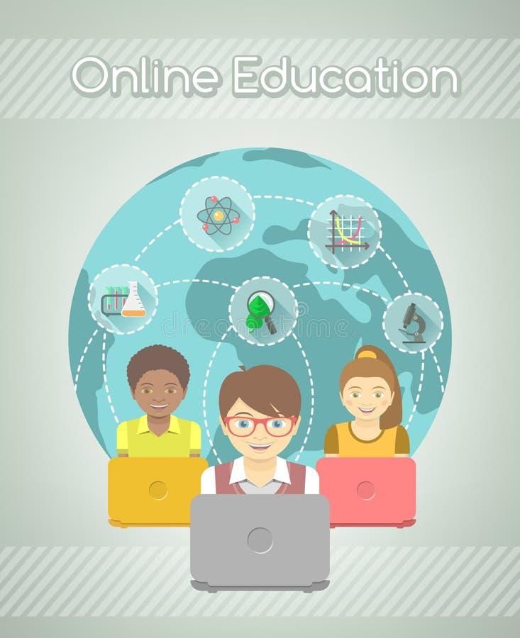Online-utbildning för ungar stock illustrationer