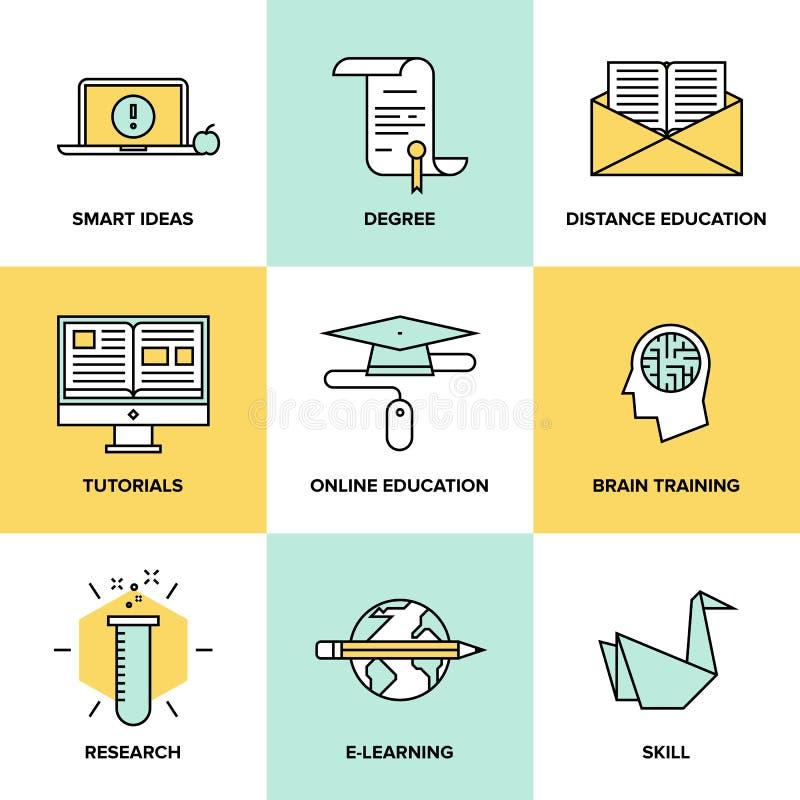 Online-utbildning och plan symbolsuppsättning för utbildning stock illustrationer