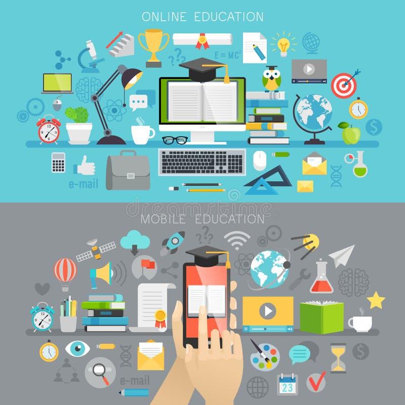 Online-utbildnings- och mobilkursbegrepp royaltyfri illustrationer